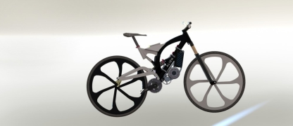 Frame render black rear wheel